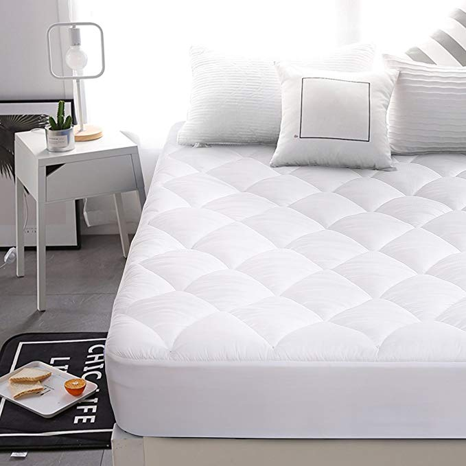 Abakan Superior Double-Sided Mattress Pad Cover, Stretches up to 8-21 Inches Deep, Down Alternative Quilted Cooling White Mattress Topper(Reversible,King)